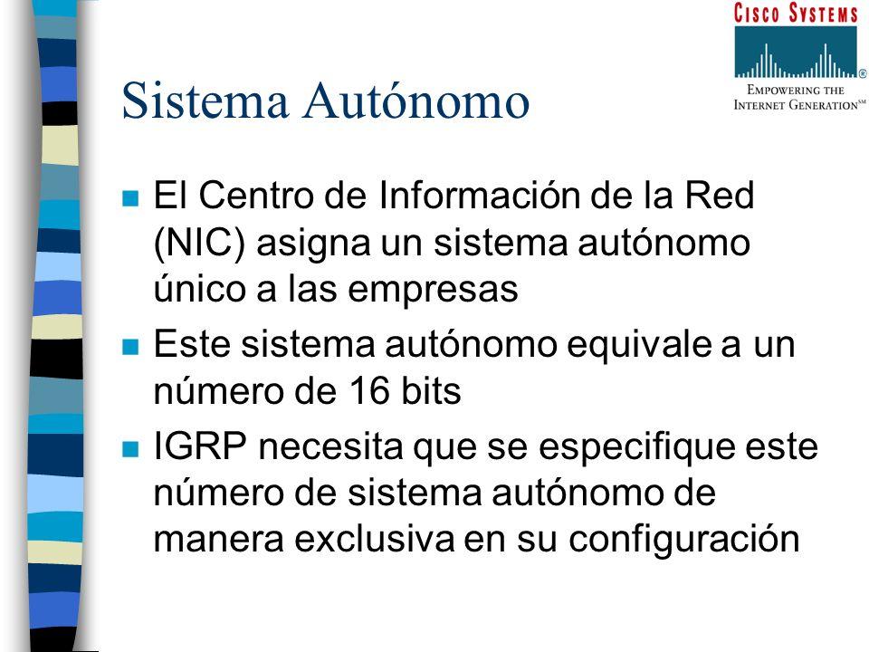 Sistema Autónomo n El Centro de Información de la Red (NIC) asigna un sistema autónomo único a las empresas n Este sistema autónomo equivale a un núme