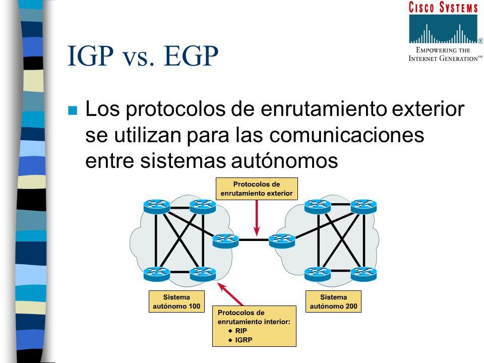 IGP vs. EGP n Los protocolos de enrutamiento exterior se utilizan para las comunicaciones entre sistemas autónomos