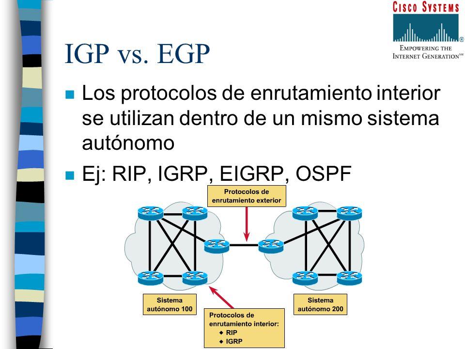 IGP vs. EGP n Los protocolos de enrutamiento interior se utilizan dentro de un mismo sistema autónomo n Ej: RIP, IGRP, EIGRP, OSPF