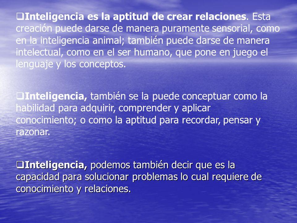 Inteligencia, podemos también decir que es la capacidad para solucionar problemas lo cual requiere de conocimiento y relaciones. Inteligencia, podemos