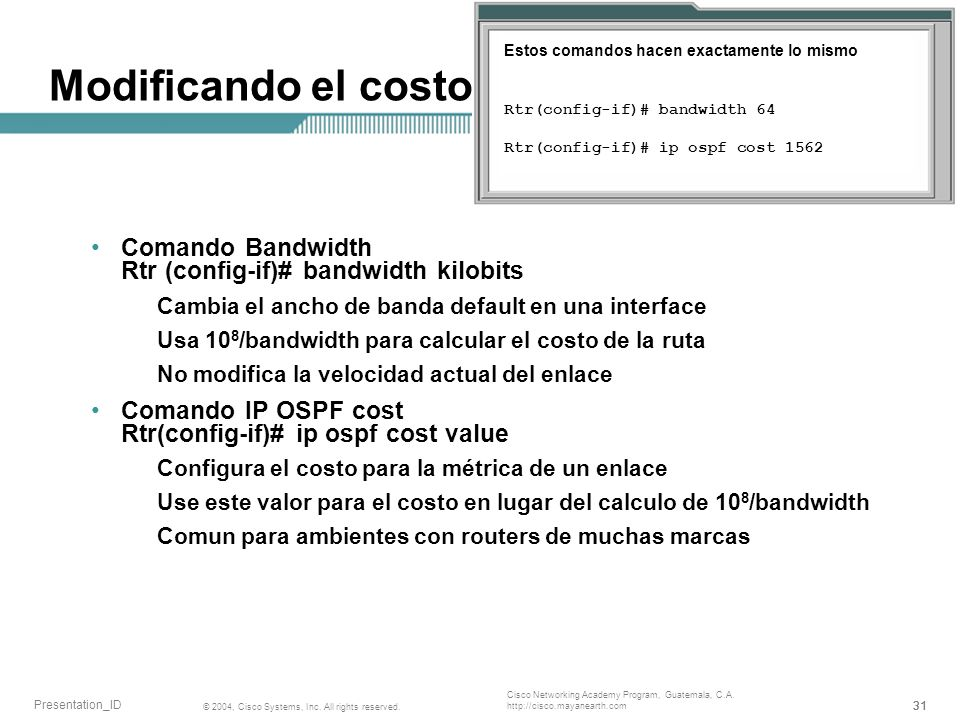31 © 2004, Cisco Systems, Inc. All rights reserved. Presentation_ID Cisco Networking Academy Program, Guatemala, C.A. http://cisco.mayanearth.com Modi