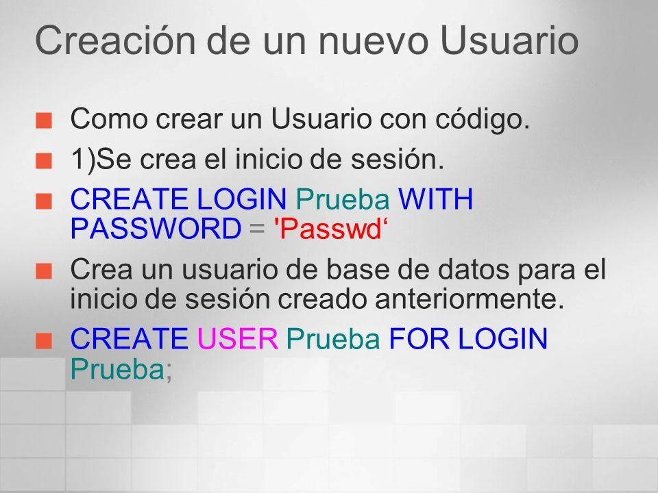 Como crear un Usuario con código.1)Se crea el inicio de sesión.