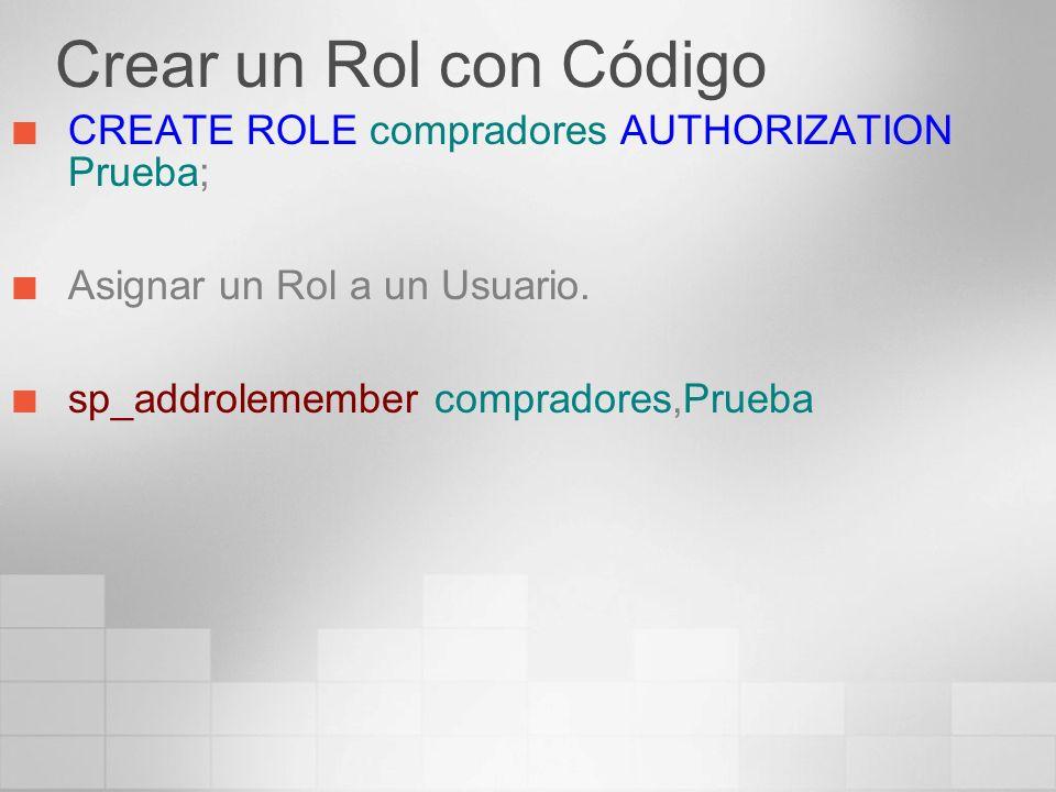 Crear un Rol con Código CREATE ROLE compradores AUTHORIZATION Prueba; Asignar un Rol a un Usuario. sp_addrolemember compradores,Prueba