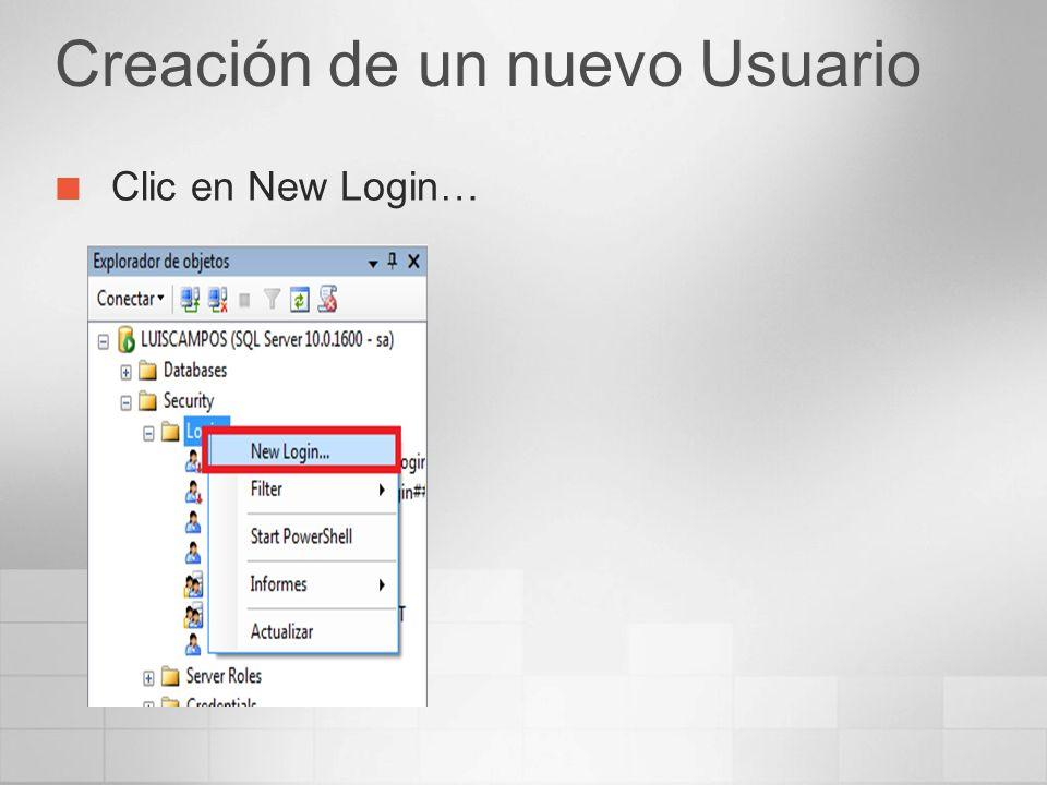 Creación de un nuevo Usuario Clic en New Login…