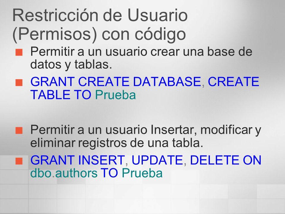 Restricción de Usuario (Permisos) con código Permitir a un usuario crear una base de datos y tablas. GRANT CREATE DATABASE, CREATE TABLE TO Prueba Per