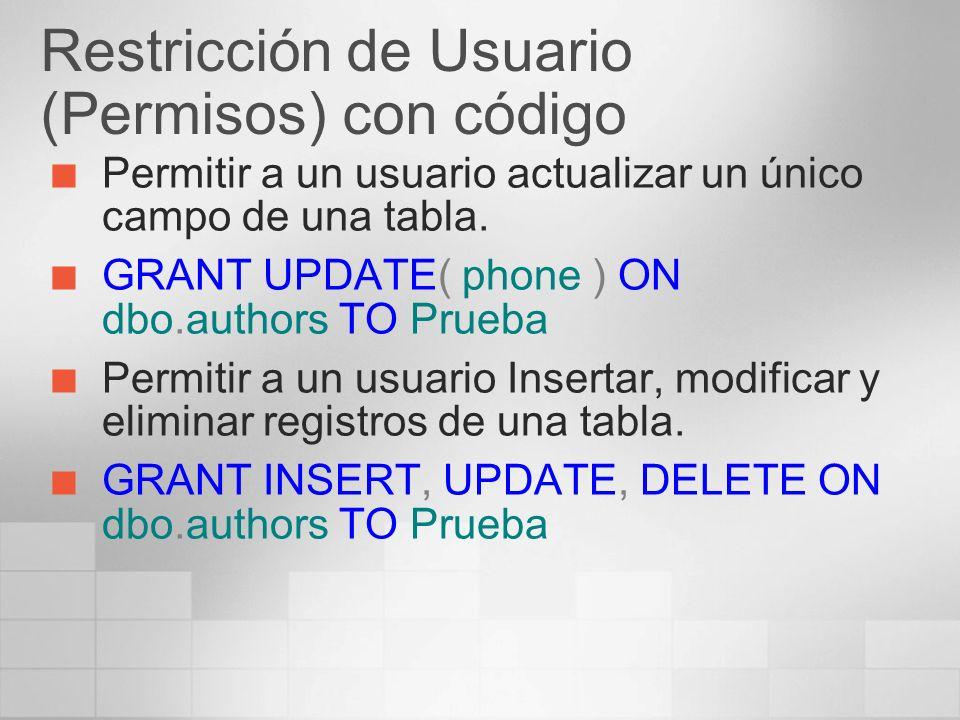 Restricción de Usuario (Permisos) con código Permitir a un usuario actualizar un único campo de una tabla. GRANT UPDATE( phone ) ON dbo.authors TO Pru