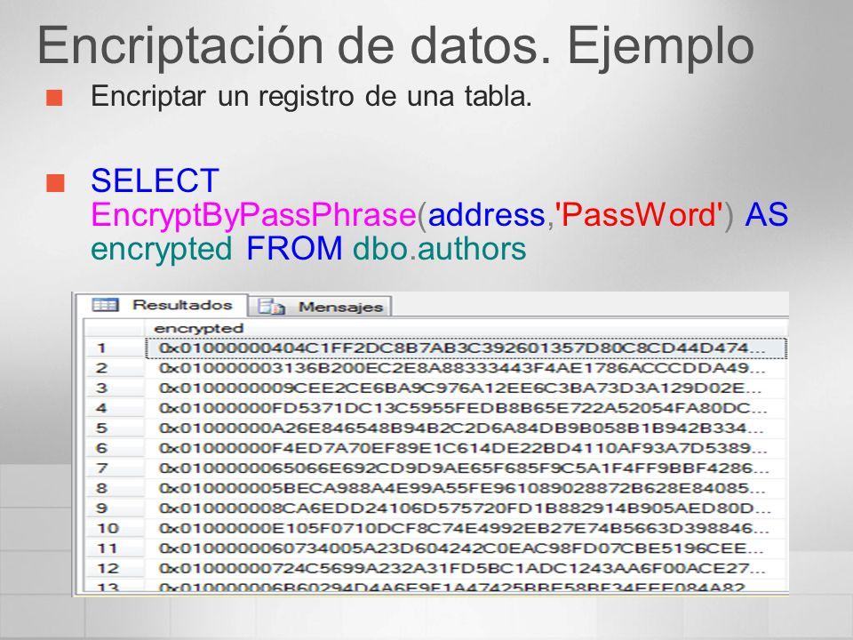 Encriptación de datos.Ejemplo Encriptar un registro de una tabla.