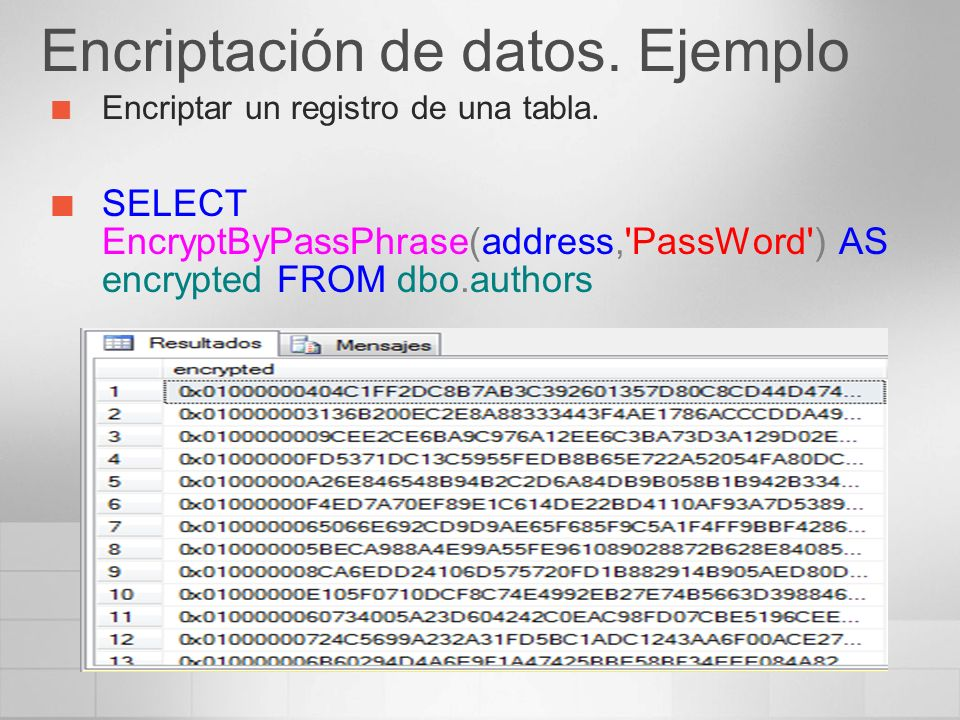 Encriptación de datos. Ejemplo Encriptar un registro de una tabla. SELECT EncryptByPassPhrase(address,'PassWord') AS encrypted FROM dbo.authors