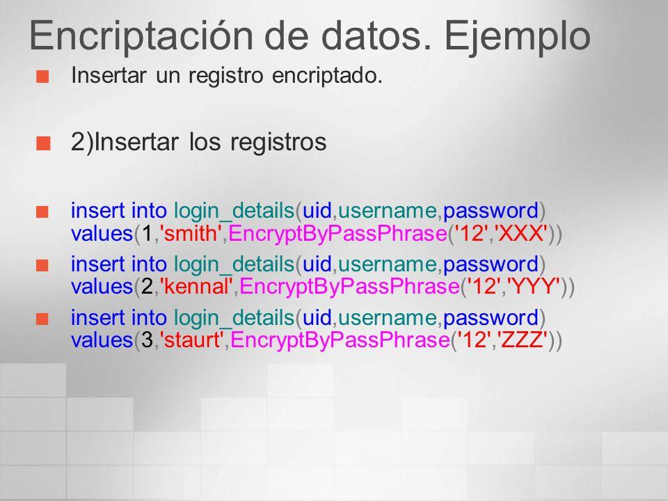 Encriptación de datos. Ejemplo Insertar un registro encriptado. 2)Insertar los registros insert into login_details(uid,username,password) values(1,'sm