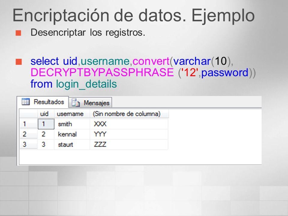 Encriptación de datos. Ejemplo Desencriptar los registros. select uid,username,convert(varchar(10), DECRYPTBYPASSPHRASE ('12',password)) from login_de