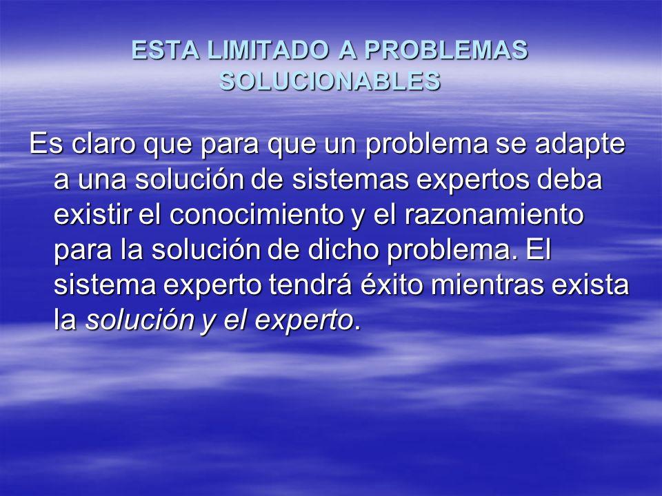 ESTA LIMITADO A PROBLEMAS SOLUCIONABLES Es claro que para que un problema se adapte a una solución de sistemas expertos deba existir el conocimiento y