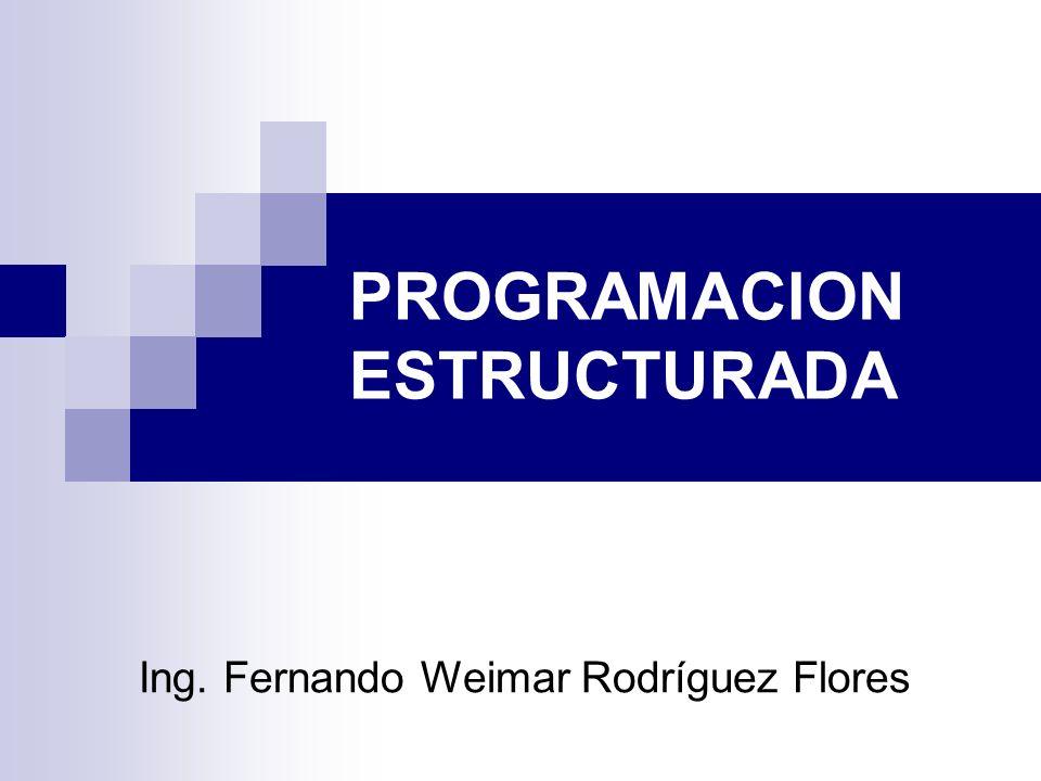 PROGRAMACION ESTRUCTURADA Ing. Fernando Weimar Rodríguez Flores