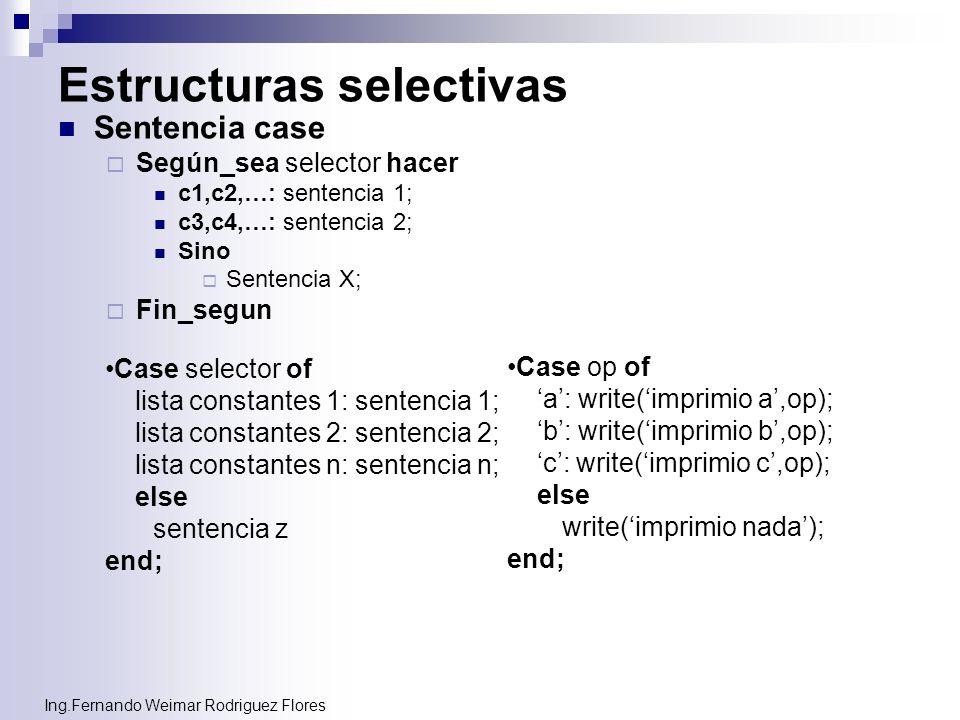 Ing.Fernando Weimar Rodriguez Flores Estructuras selectivas Sentencia case Según_sea selector hacer c1,c2,…: sentencia 1; c3,c4,…: sentencia 2; Sino S