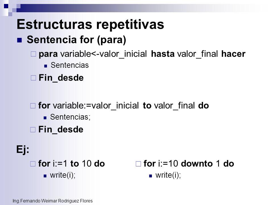 Ing.Fernando Weimar Rodriguez Flores Estructuras repetitivas Sentencia for (para) para variable<-valor_inicial hasta valor_final hacer Sentencias Fin_