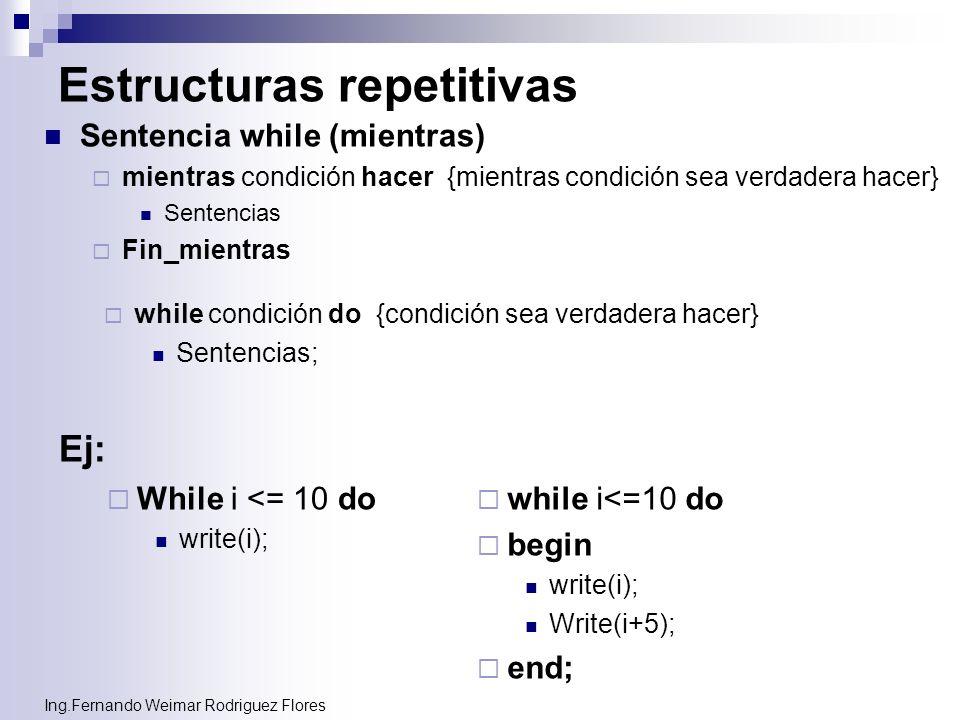 Ing.Fernando Weimar Rodriguez Flores Estructuras repetitivas Sentencia while (mientras) mientras condición hacer {mientras condición sea verdadera hac