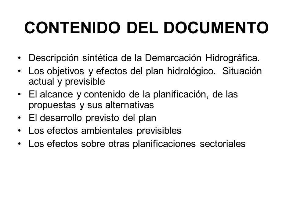CONTENIDO DEL DOCUMENTO Descripción sintética de la Demarcación Hidrográfica. Los objetivos y efectos del plan hidrológico. Situación actual y previsi