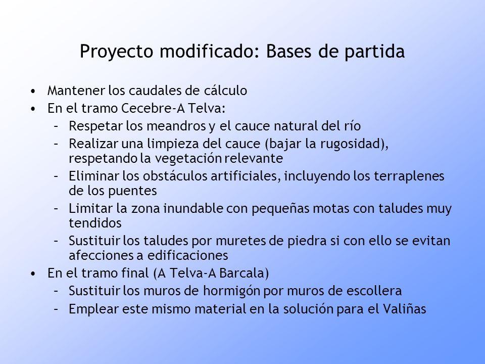 Proyecto modificado: Bases de partida Mantener los caudales de cálculo En el tramo Cecebre-A Telva: –Respetar los meandros y el cauce natural del río