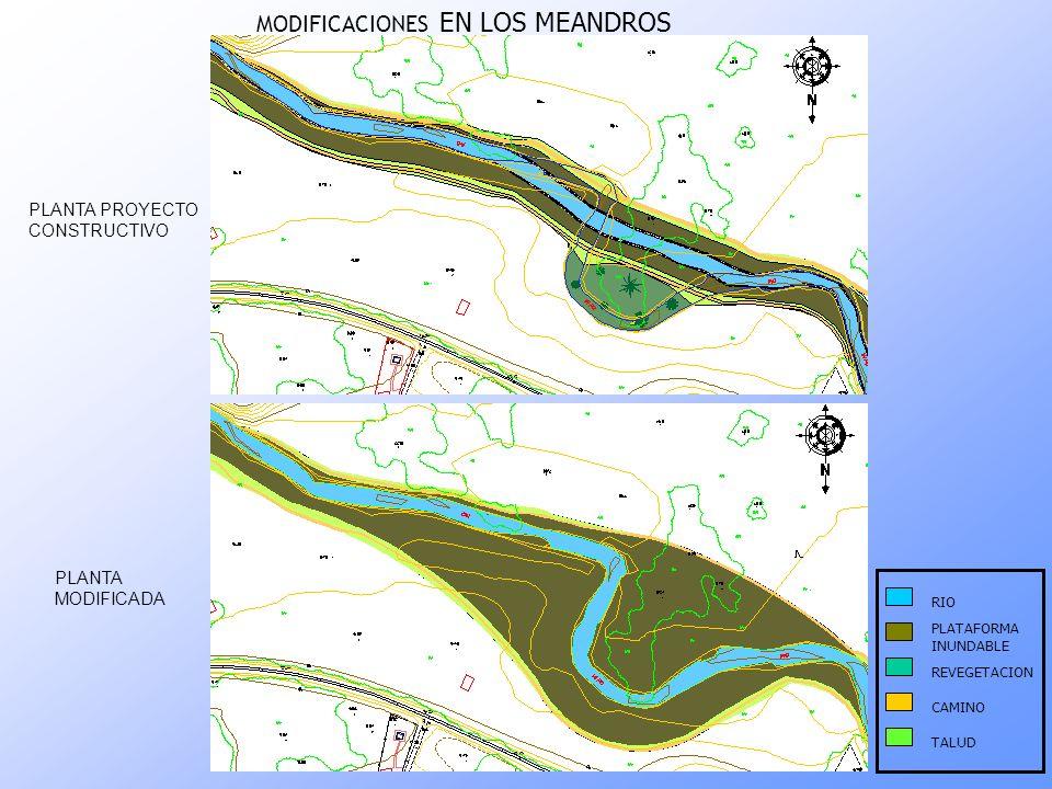 PLANTA PROYECTO CONSTRUCTIVO PLANTA MODIFICADA PLATAFORMA INUNDABLE RIO CAMINO TALUD REVEGETACION MODIFICACIONES EN LOS MEANDROS