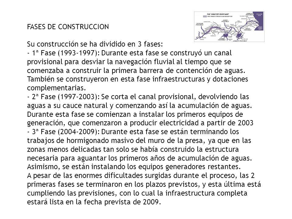 FASES DE CONSTRUCCION Su construcción se ha dividido en 3 fases: - 1ª Fase (1993-1997): Durante esta fase se construyó un canal provisional para desvi