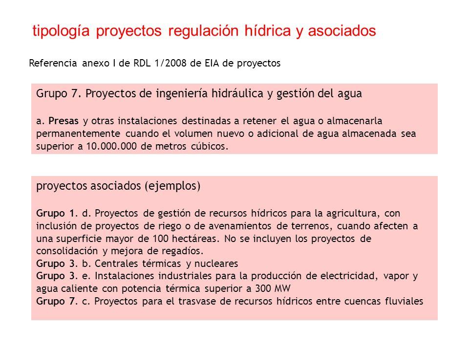 tipología proyectos regulación hídrica y asociados Grupo 7.