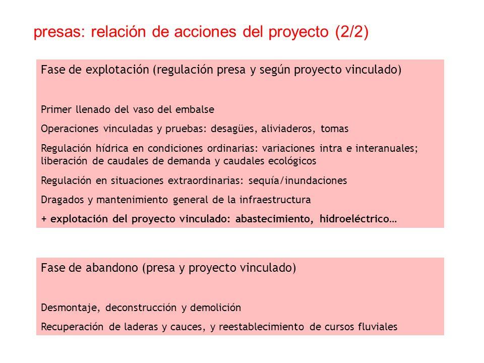 presas: relación de acciones del proyecto (2/2) Fase de explotación (regulación presa y según proyecto vinculado) Primer llenado del vaso del embalse