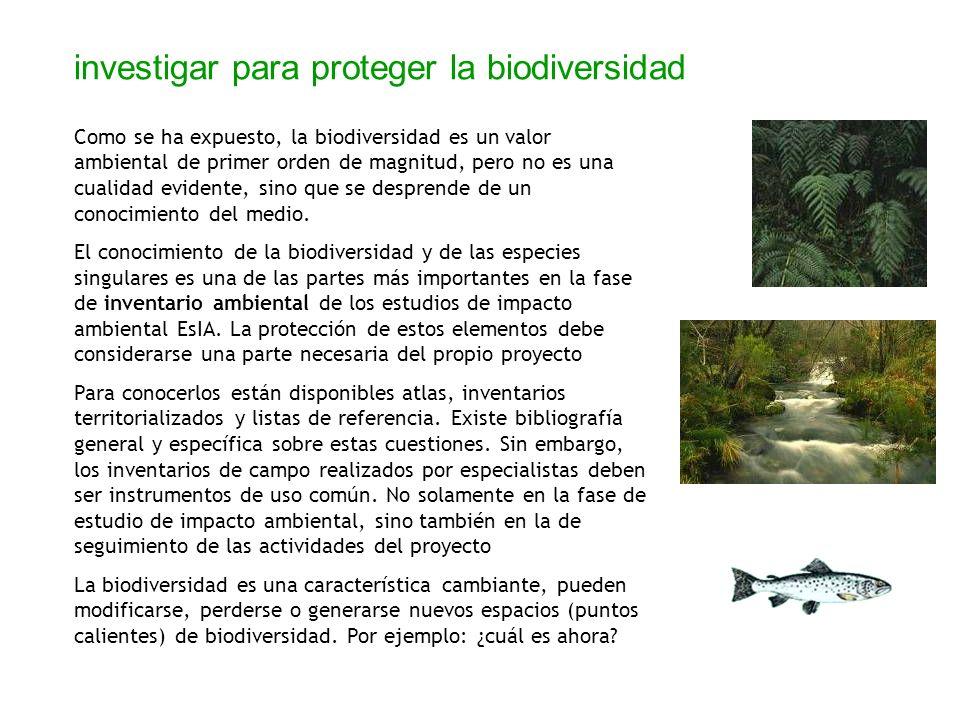 investigar para proteger la biodiversidad Como se ha expuesto, la biodiversidad es un valor ambiental de primer orden de magnitud, pero no es una cual