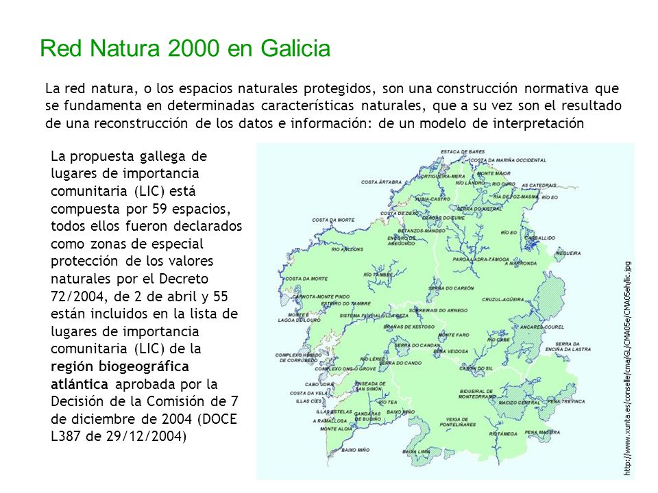 La propuesta gallega de lugares de importancia comunitaria (LIC) está compuesta por 59 espacios, todos ellos fueron declarados como zonas de especial