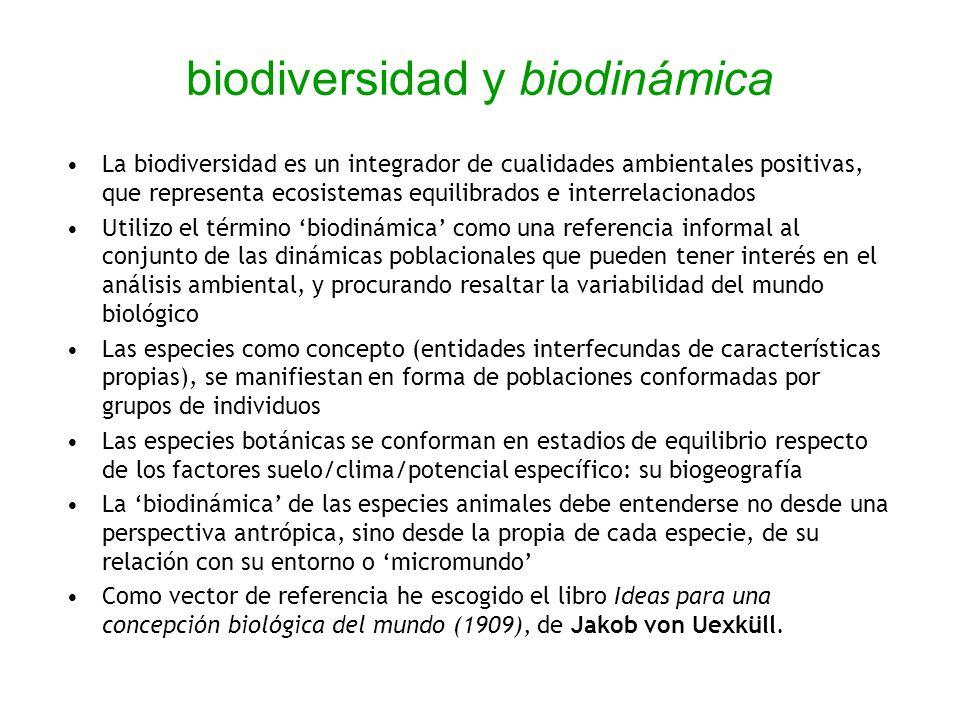 biodiversidad y biodinámica La biodiversidad es un integrador de cualidades ambientales positivas, que representa ecosistemas equilibrados e interrela