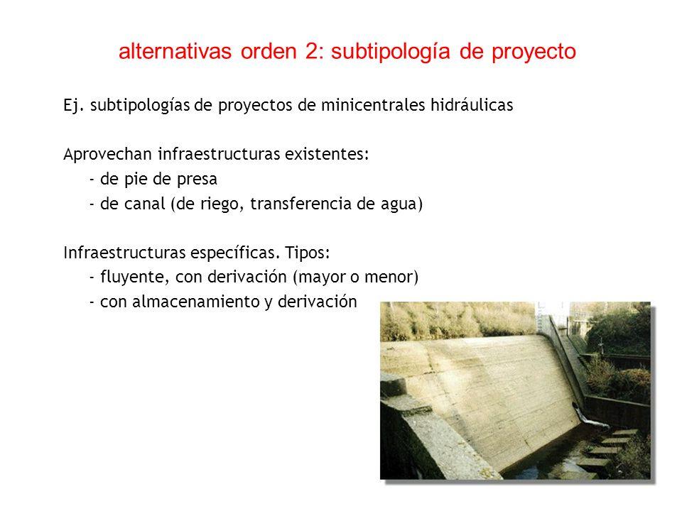 alternativas orden 2: subtipología de proyecto Ej. subtipologías de proyectos de minicentrales hidráulicas Aprovechan infraestructuras existentes: - d