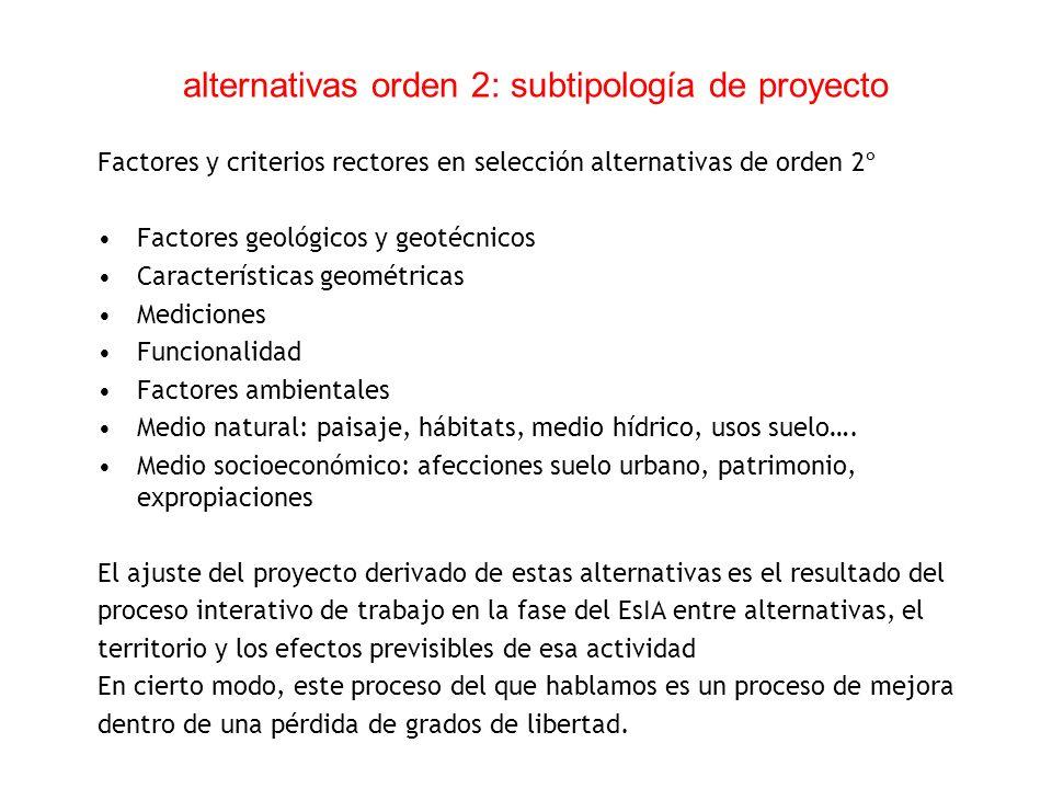 alternativas orden 2: subtipología de proyecto Factores y criterios rectores en selección alternativas de orden 2º Factores geológicos y geotécnicos C