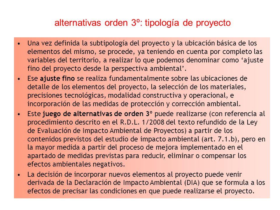 alternativas orden 3º: tipología de proyecto Una vez definida la subtipología del proyecto y la ubicación básica de los elementos del mismo, se proced