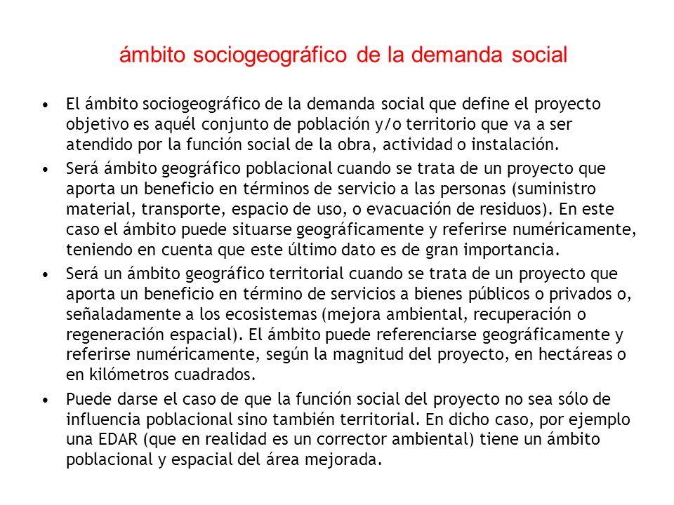 ámbito sociogeográfico de la demanda social El ámbito sociogeográfico de la demanda social que define el proyecto objetivo es aquél conjunto de poblac