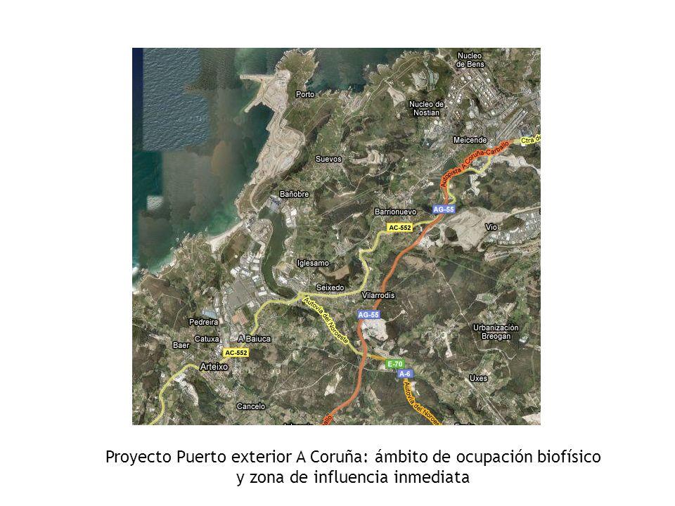 Proyecto Puerto exterior A Coruña: ámbito de ocupación biofísico y zona de influencia inmediata