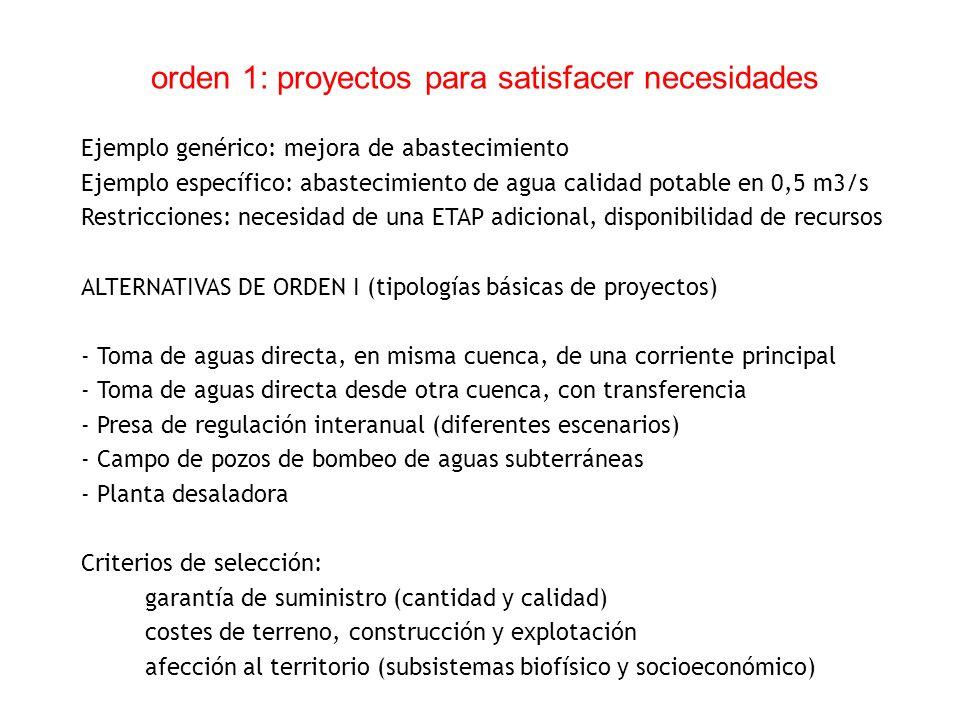orden 1: proyectos para satisfacer necesidades Ejemplo genérico: mejora de abastecimiento Ejemplo específico: abastecimiento de agua calidad potable e
