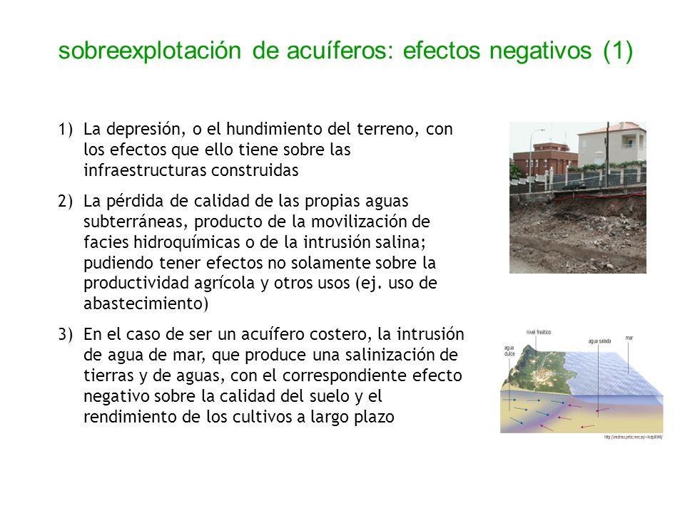 1)La depresión, o el hundimiento del terreno, con los efectos que ello tiene sobre las infraestructuras construidas 2)La pérdida de calidad de las pro