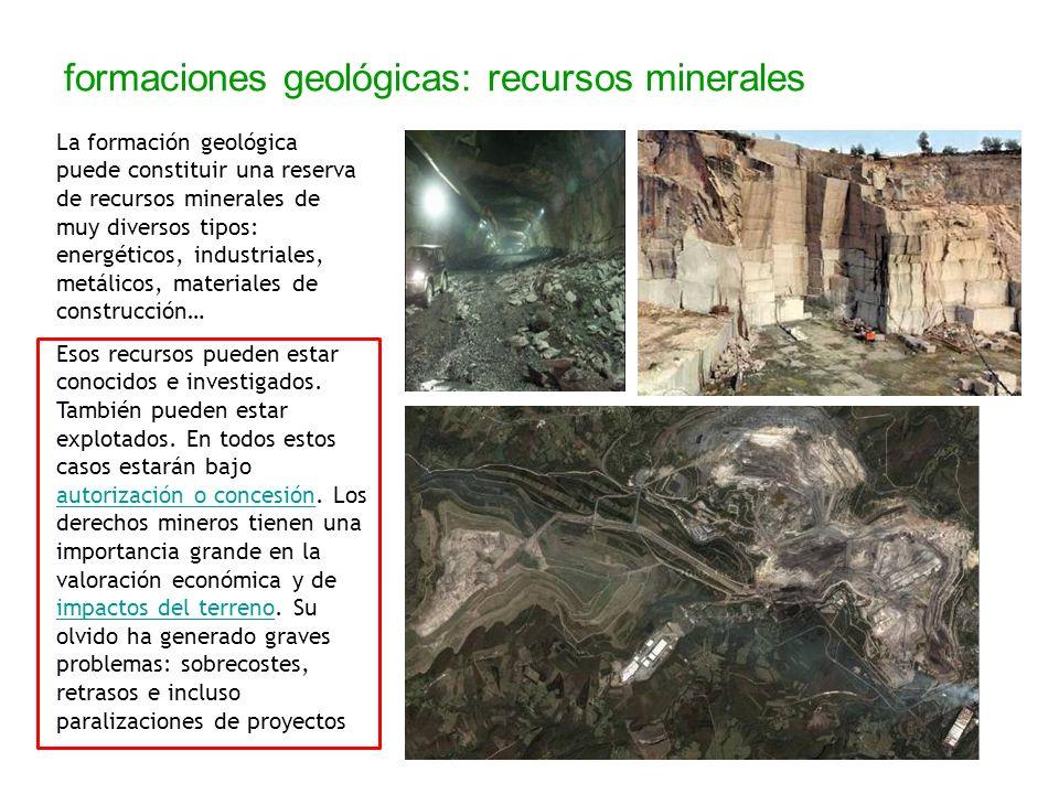 formaciones geológicas: recursos minerales La formación geológica puede constituir una reserva de recursos minerales de muy diversos tipos: energético
