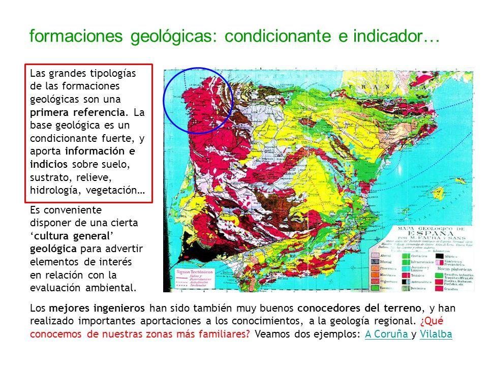 formaciones geológicas: condicionante e indicador… Las grandes tipologías de las formaciones geológicas son una primera referencia. La base geológica