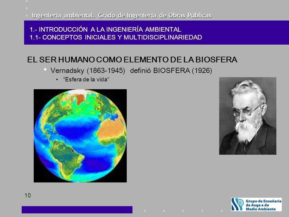 Ingeniería ambiental. Grado de Ingeniería de Obras Públicas 10 EL SER HUMANO COMO ELEMENTO DE LA BIOSFERA Vernadsky (1863-1945) definió BIOSFERA (1926
