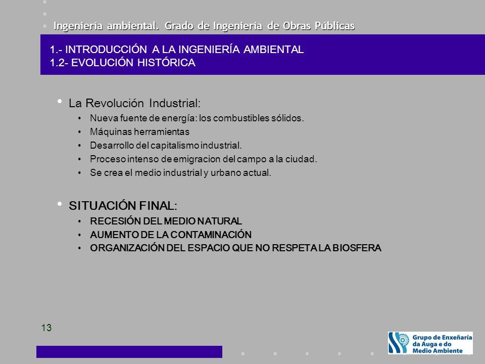 Ingeniería ambiental. Grado de Ingeniería de Obras Públicas 13 La Revolución Industrial: Nueva fuente de energía: los combustibles sólidos. Máquinas h