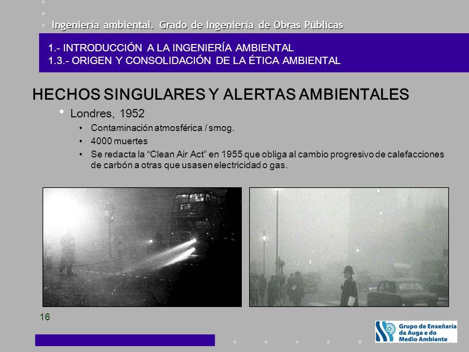 Ingeniería ambiental. Grado de Ingeniería de Obras Públicas 16 HECHOS SINGULARES Y ALERTAS AMBIENTALES Londres, 1952 Contaminación atmosférica / smog.