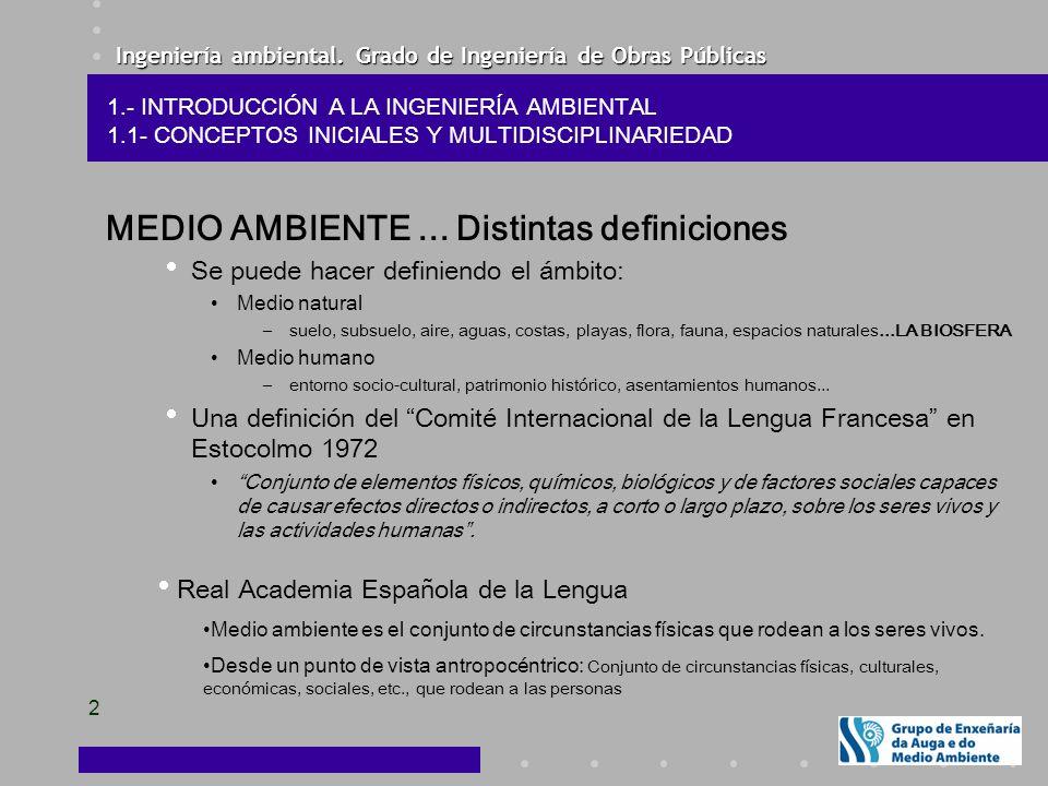 Ingeniería ambiental.Grado de Ingeniería de Obras Públicas 2 MEDIO AMBIENTE...