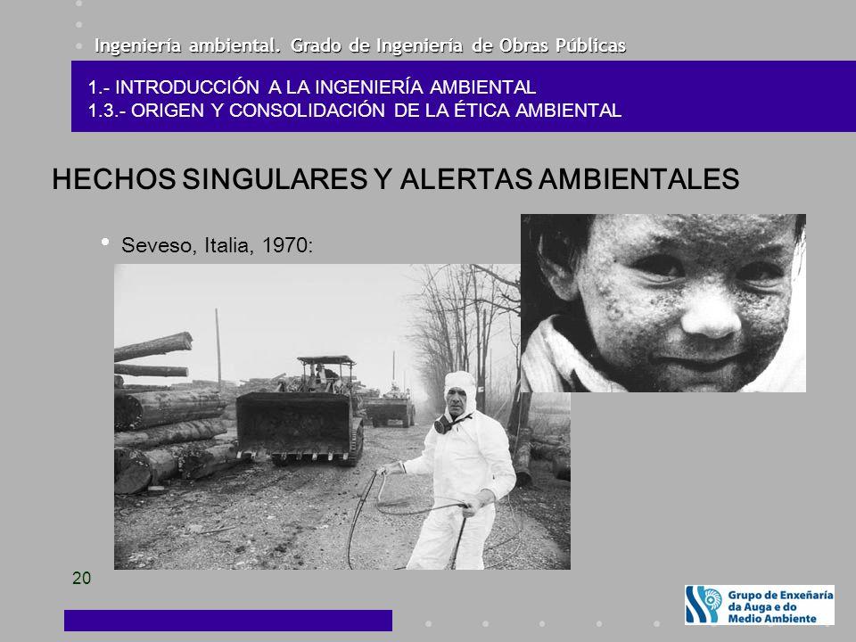 Ingeniería ambiental. Grado de Ingeniería de Obras Públicas 20 HECHOS SINGULARES Y ALERTAS AMBIENTALES Seveso, Italia, 1970: 1.- INTRODUCCIÓN A LA ING