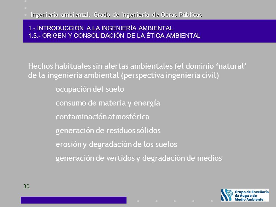 Ingeniería ambiental. Grado de Ingeniería de Obras Públicas 30 1.- INTRODUCCIÓN A LA INGENIERÍA AMBIENTAL 1.3.- ORIGEN Y CONSOLIDACIÓN DE LA ÉTICA AMB