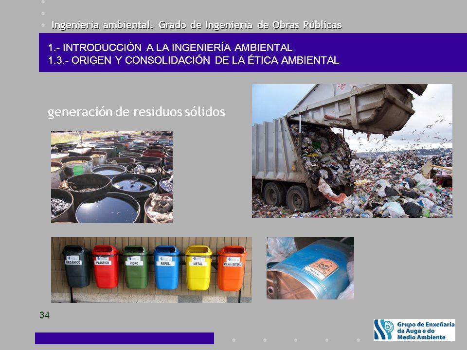 Ingeniería ambiental. Grado de Ingeniería de Obras Públicas 34 1.- INTRODUCCIÓN A LA INGENIERÍA AMBIENTAL 1.3.- ORIGEN Y CONSOLIDACIÓN DE LA ÉTICA AMB