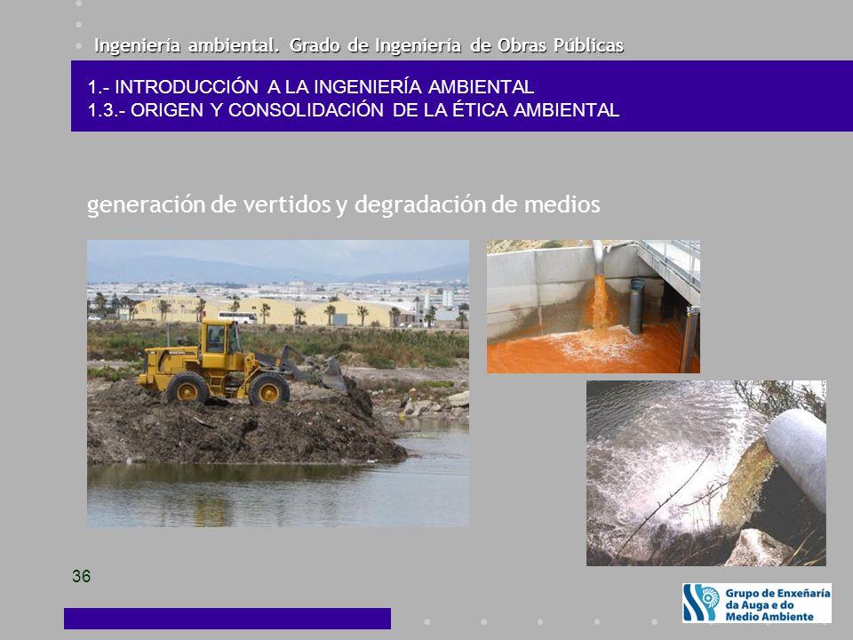Ingeniería ambiental. Grado de Ingeniería de Obras Públicas 36 1.- INTRODUCCIÓN A LA INGENIERÍA AMBIENTAL 1.3.- ORIGEN Y CONSOLIDACIÓN DE LA ÉTICA AMB