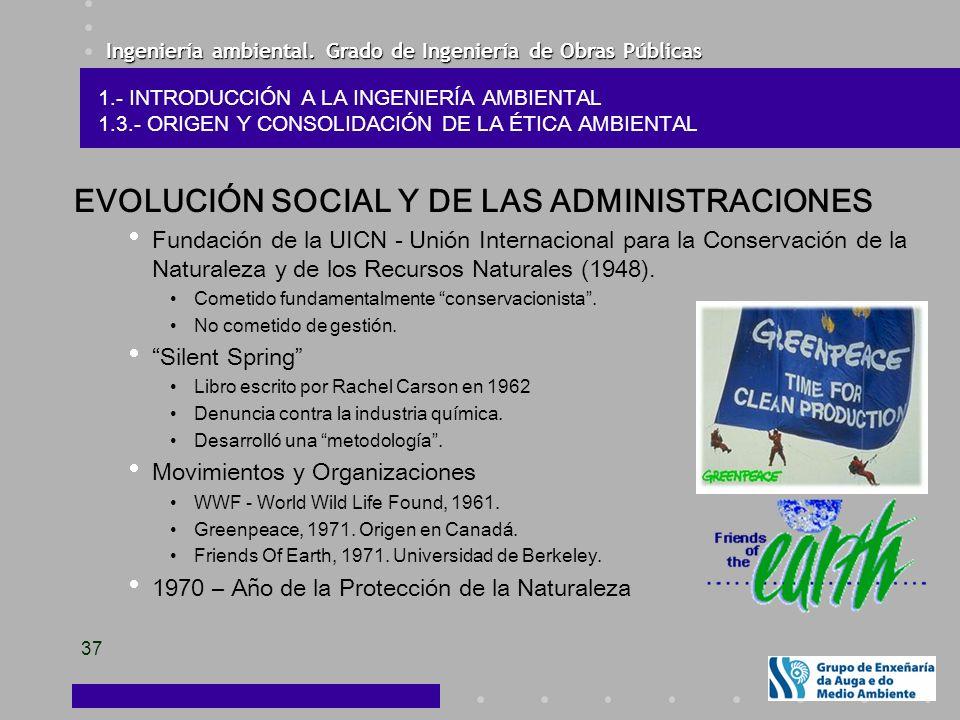 Ingeniería ambiental. Grado de Ingeniería de Obras Públicas 37 EVOLUCIÓN SOCIAL Y DE LAS ADMINISTRACIONES Fundación de la UICN - Unión Internacional p