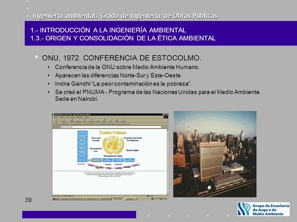 Ingeniería ambiental. Grado de Ingeniería de Obras Públicas 39 ONU, 1972. CONFERENCIA DE ESTOCOLMO. Conferencia de la ONU sobre Medio Ambiente Humano.