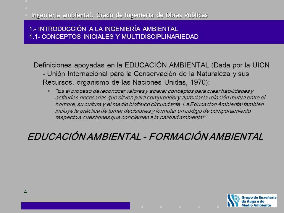 Ingeniería ambiental. Grado de Ingeniería de Obras Públicas 4 Definiciones apoyadas en la EDUCACIÓN AMBIENTAL (Dada por la UICN - Unión Internacional