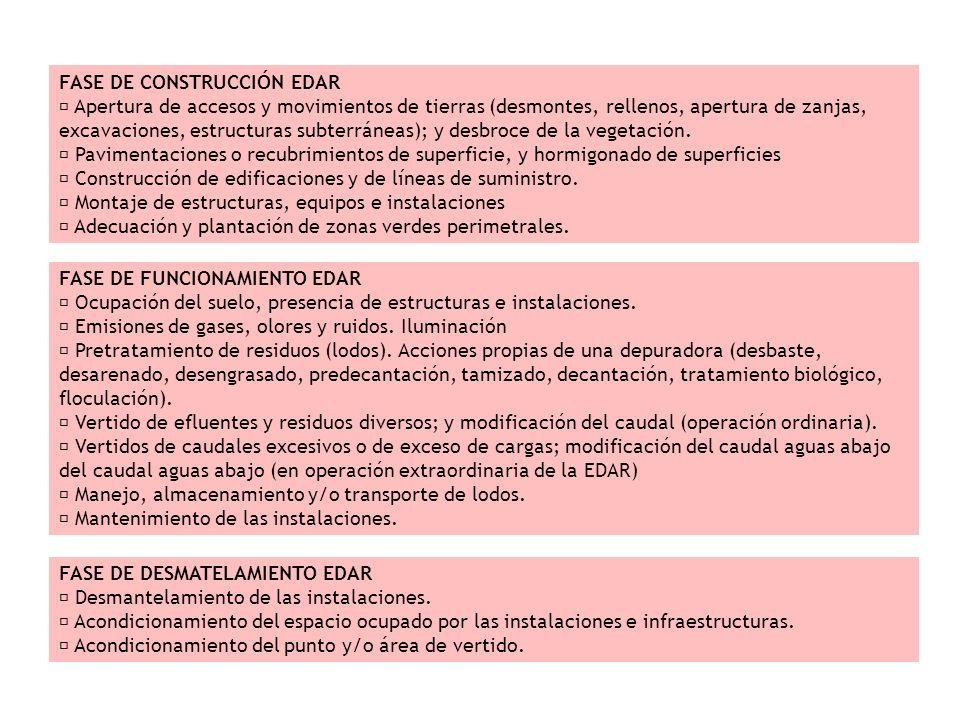 FASE DE CONSTRUCCIÓN EDAR Apertura de accesos y movimientos de tierras (desmontes, rellenos, apertura de zanjas, excavaciones, estructuras subterránea
