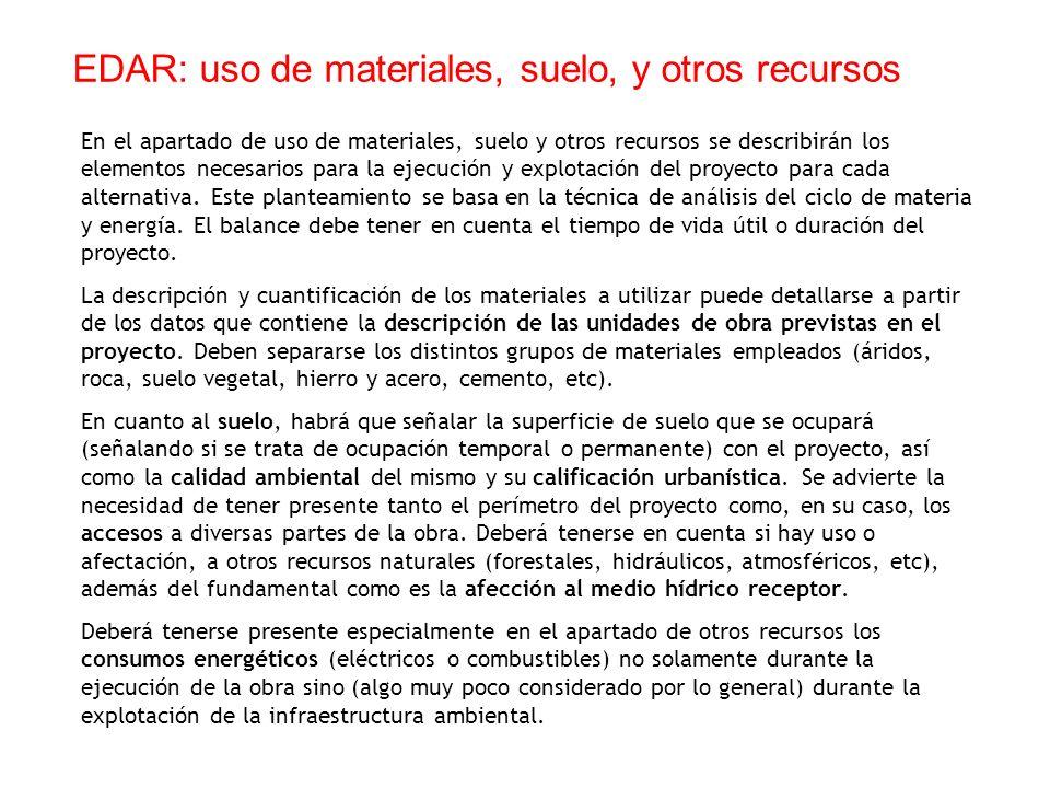 En el apartado de uso de materiales, suelo y otros recursos se describirán los elementos necesarios para la ejecución y explotación del proyecto para